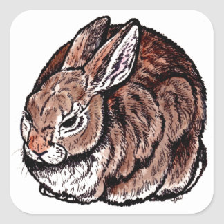 Original Rabbit Art, Pen & Ink, Watercolor Drawing Square Sticker