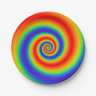 Original Rainbow Gradient Colorful Spiral Effect Paper Plate