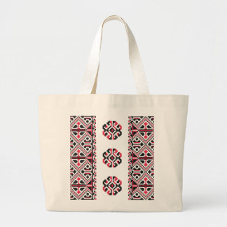 Original Red and Black cross-stitch Pattern Large Tote Bag