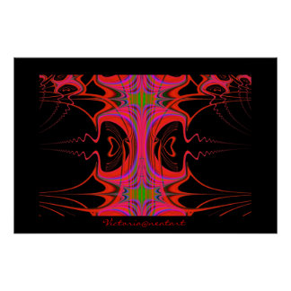 Original Red and Black Fractal Abstract Poster