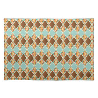 Original Retro Brown/aqua diamond pattern Placemat