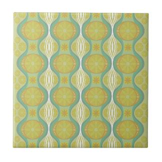 Original Retro Daisy pattern in Green Ceramic Tile
