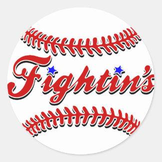 Original roja del cordón de Fightin Etiquetas Redondas