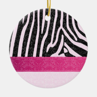 Original  romantic zebra damask pink / add name ceramic ornament