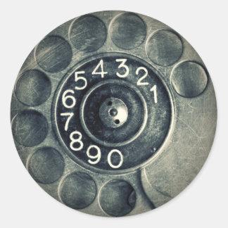original rotary phone round sticker