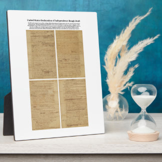 ORIGINAL Rough Draft Declaration of Independence Plaque