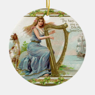 Original Saint patrick's day harp & lady Ceramic Ornament