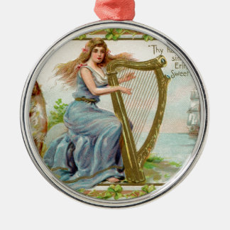 Original Saint patrick's day harp & lady Metal Ornament