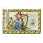 Original Saint patrick's day harp & lady Postcard