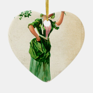 Original Saint patrick's day lady in green Ceramic Ornament