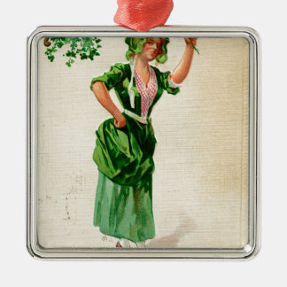 Original Saint patrick's day lady in green Metal Ornament