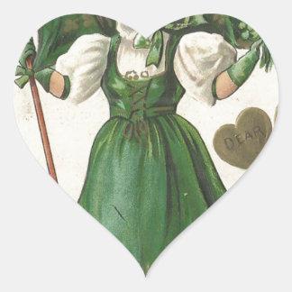 Original Saint patrick's day lady vintage poster Heart Sticker