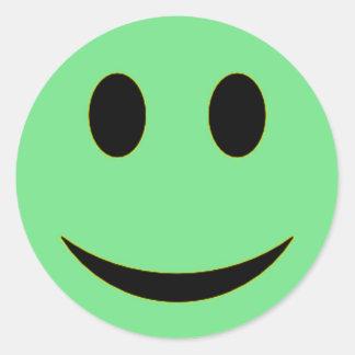 Original Sea Green Smiley Face Classic Round Sticker
