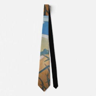 original section of abstract landscape art pattern neck tie