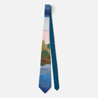 original section of abstract landscape art pattern tie