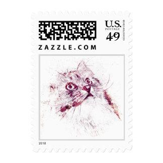 Original Siberian Cat Portrait Postage Stamp