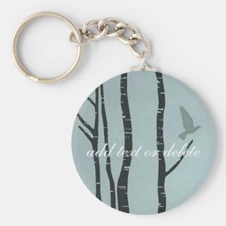 Original silver birch, bird artwork keychain