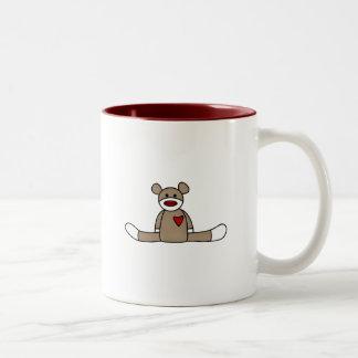 Original Sock Monkey Tshirts and Gifts Two-Tone Coffee Mug