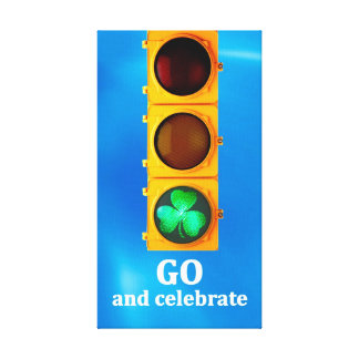 Original St. Patricks Day traffic signal light Canvas Print