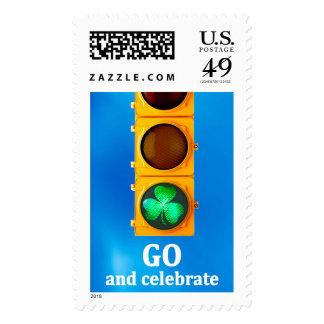 Original St. Patricks Day traffic signal light Postage