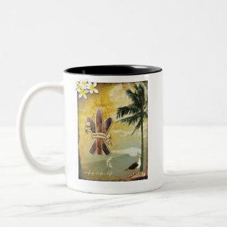 Original Surf Inspired Digital Art Two-Tone Coffee Mug