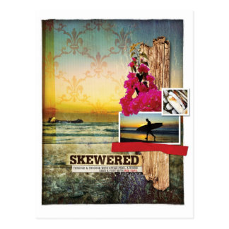 Original Surf Theme Digital Art Collage Postcard