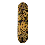 original tattoo drawing on wood island style skate board