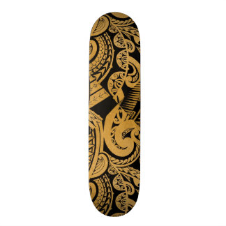 original tattoo drawing on wood island style skateboard