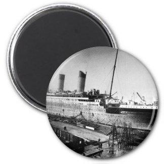 original titanic picture under construction magnet