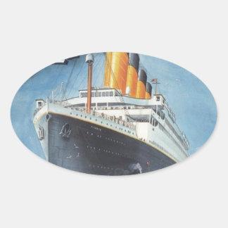 Original titanic vintage poster 1912 oval sticker