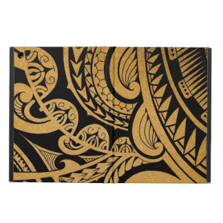 Original tribal tattoo on wood with marker iPad air cases
