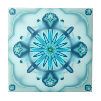 Original Turquoise Blue Fractal Design Tile