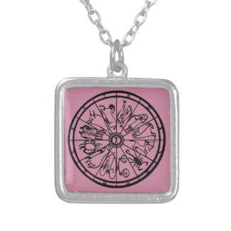 Original Unique Zodiac Wheel Square Pendant Necklace
