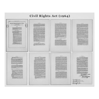ORIGINAL United States Civil Rights Act of 1964 Poster