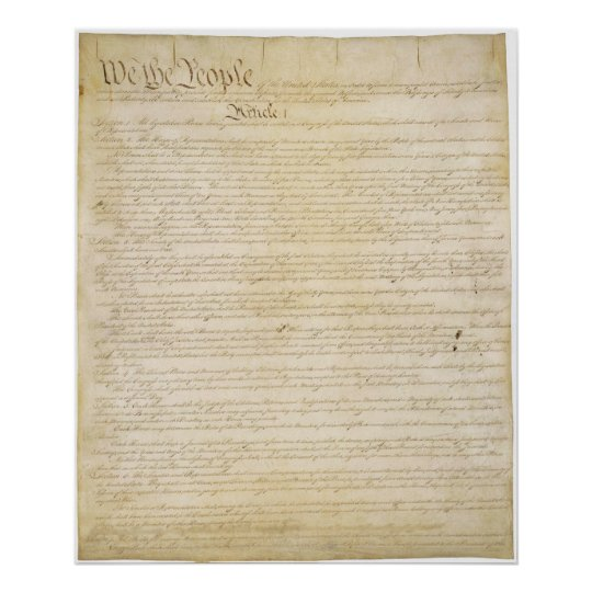 Original United States Constitution Page 1 Poster