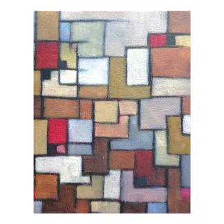 Original urbana abstracta azul del arte de Brown Membrete Personalizado