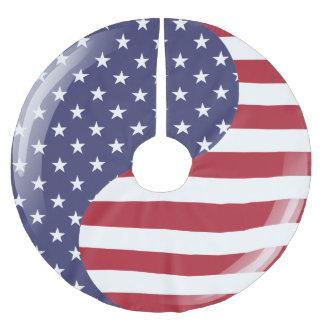 Original USA patriotic Ying Yang Symbol Brushed Polyester Tree Skirt