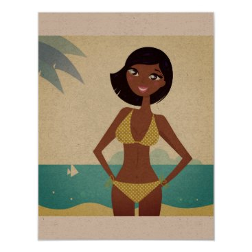 Beach Themed Original vacation greeting with Girl illustration Card