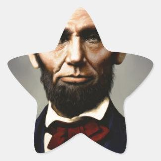 Original vintage color photo of Abraham Lincoln Star Sticker