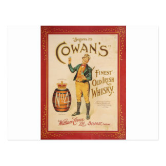 Original vintage Cowan irish whisky poster Postcard