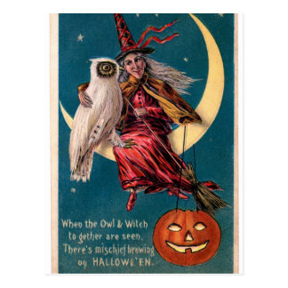 Original vintage Halloween card with witch! Postcard