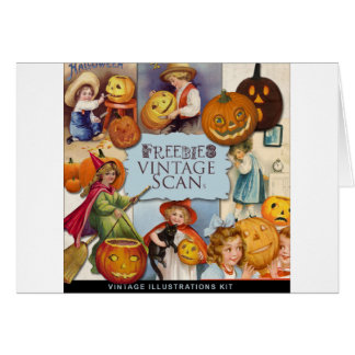 Original vintage halloween illustration card