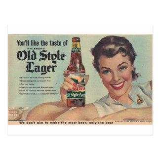 Original vintage Heilman's beer, Old style lager! Postcard