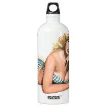 Original vintage Pin up with radio poster Water Bottle