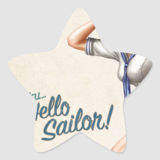 "Original vintage Pinup ""hello sailor!"" card Star Sticker"