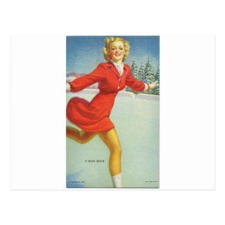 Original vintage pinup's portrait of 1940s - skate postcard
