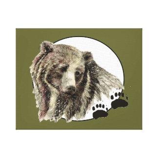 Original Watercolor Bear with Tracks Animal Canvas Print