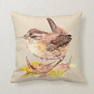 Original Watercolor Bird  Cute House Wren Throw Pillow