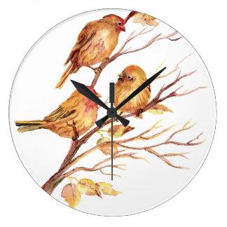 Original Watercolor Birds in Tree Large Clock