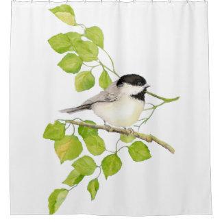 Original Watercolor Black Capped Chickadee Bird Shower Curtain